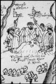 15. Tullaghoge Fort, Co. Tyrone - From Richard Bartlett's 1602 map of Ulster that included this depiction of an O'Neill inauguration on Tullyhogue.